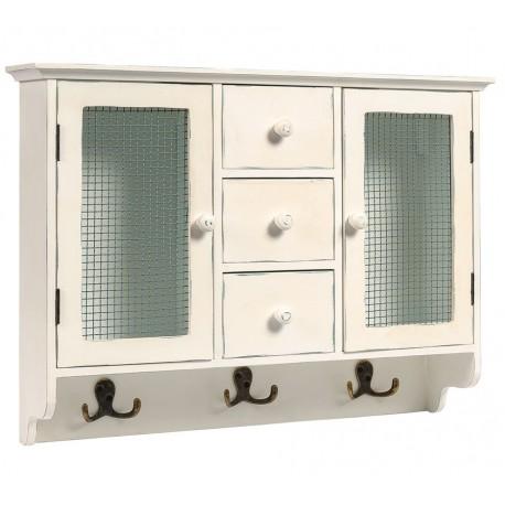 Biała szafka z drzwiczkami po bokach i trzema szufladkami po środku, szafka posiada także wieszaki