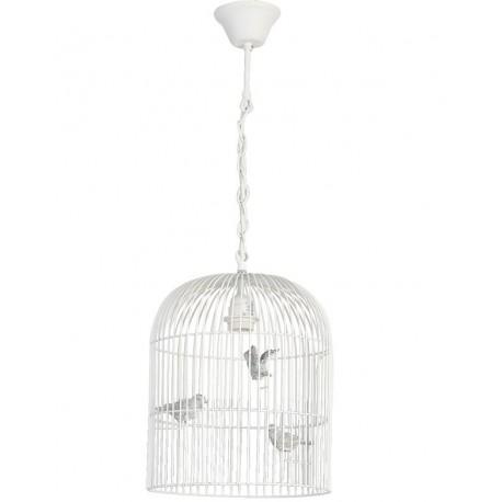 lampa prowansalska w kształcie klatki z ptaszkami w środku