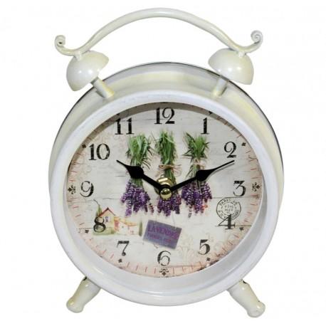 stojący zegar w białej ramie wykonanej z metalu, zegar posiada też tarczę z motywem lawendy