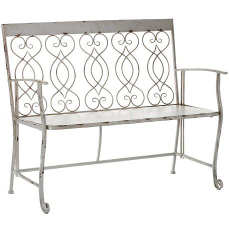 Urokliwa ławeczka z pięknymi wzorami po środku, specjalnie postarzana przetarciami. Fantastycznie będzie odpocząc na tak stylowej ławce.