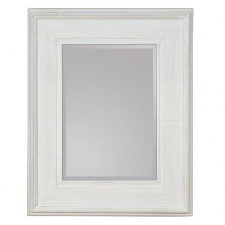 Prostokątne lustro w stylu prowansalskim w białej drewnianej ramie