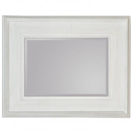 Prostokatne lustro w szerokiej białej ramie