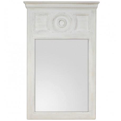 prostokatne lustro w szerokiej jasnej ramie