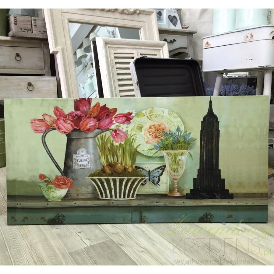 Piękny prostokątny obraz w stylu prowansalskim z kwiatami w naczyniach oraz wieżą Eiffla