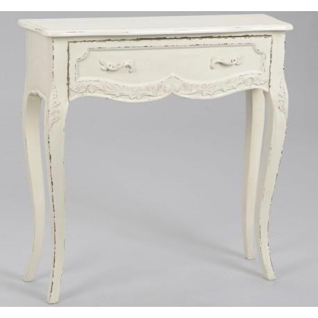 Biała konsola w stylu francuskim, lekko postarzana przetarciami na farbie.