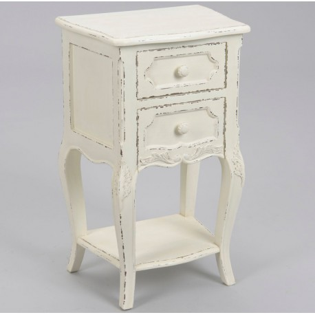 szafka nocna w stylu francuskim biała z przetarciami