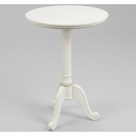 Okrągły biały stolik na finezyjnej nodze