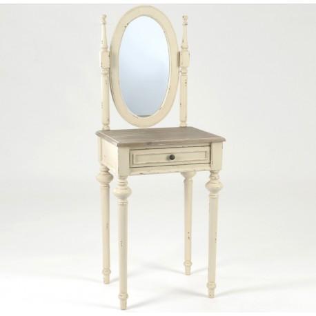 Toaletka postarzany mebel w kolorze białym z owalnym lustrem