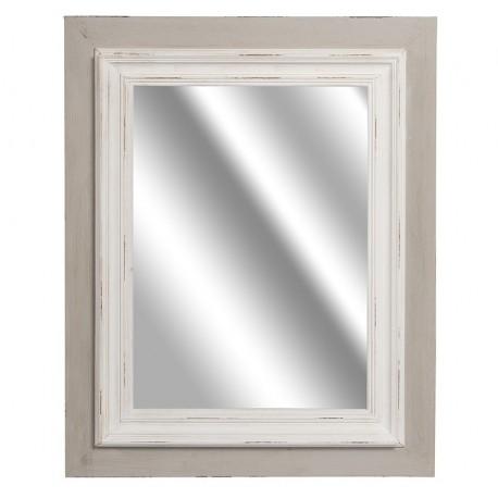 proste lustro w dwu kolorowej ramie jedna część jest w szarym druga w białym kolorze