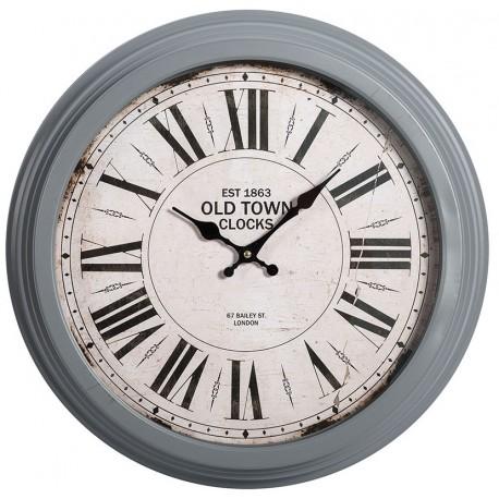Piękny zegar o szarej ramie z białą tarczą i rzymskimi cyframi marki belldeco