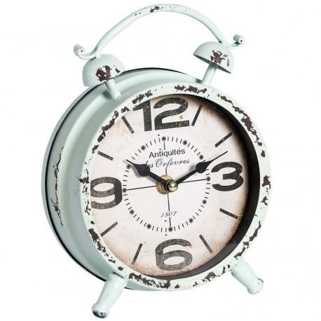 Zegar w kształcie budzika w stylu retro w miętowym odcieniu