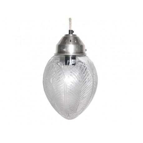 Szklana lampa przypominająca połączone liście
