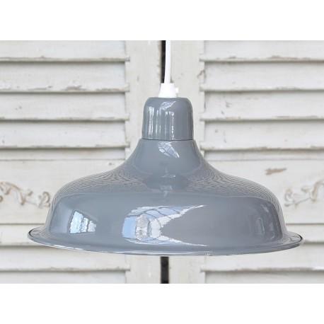 Szeroka metalowa lampa chic antique w kolorze szarym