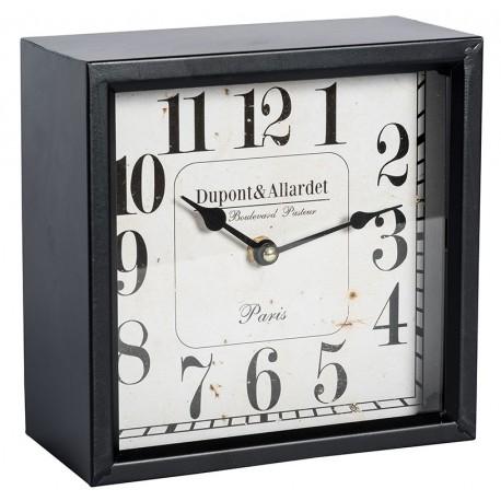 Kwadrotowy zegar Belldeco Paris z białą tarczą