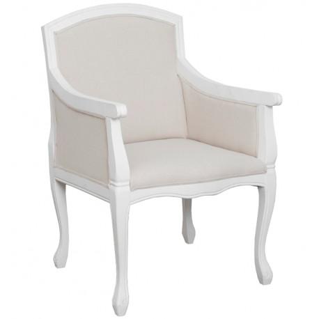 jasny fotel w stylu prowansalskim