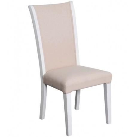 Białe krzesło z beżowym obiciem