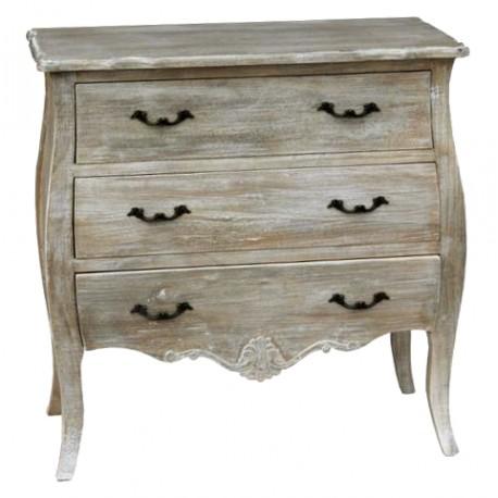 Drewniana bielona komoda z trzema szufladami