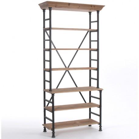 Wyjątkowy duży regał o metalowej konstrukcji i drewnianych półkach.