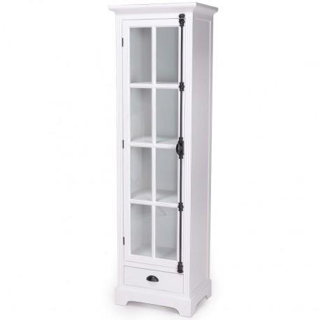 Biała witryna z szufladą i półkami