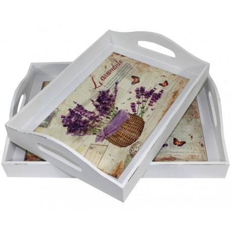 biała, drewniana taca z ceramicznymi płytkami