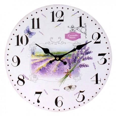 Zegar z jasną tarczą w tle krajobraz Prowansji i lawendy
