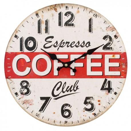 Zegar ścienny w stylu retro z ozdobnym napisem i czerwonym paskiem