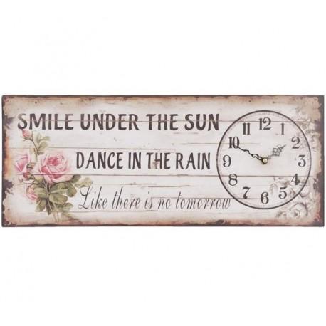 Prostokątny zegar prowansalski z napisami i kwiatkami.