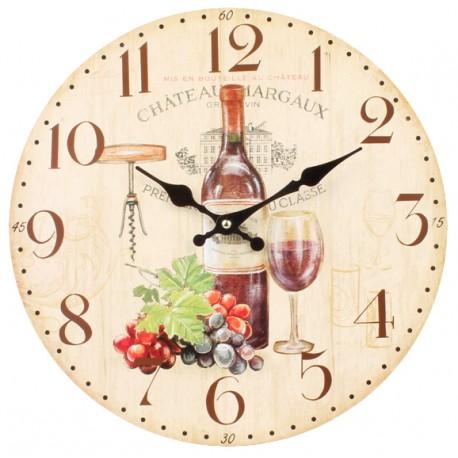 Zegar ścienny z butelką wina i kieliszkiem.