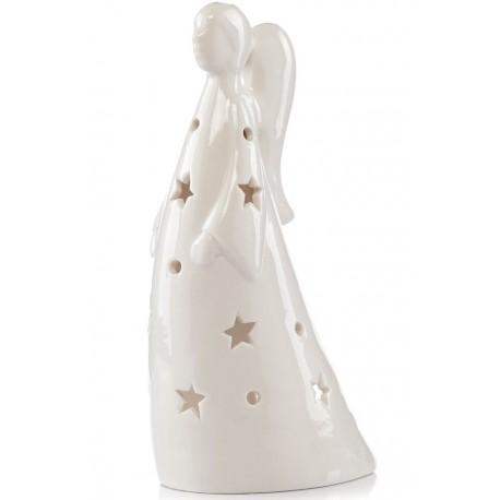 ceramiczny biały lampion o kształcie aniołka