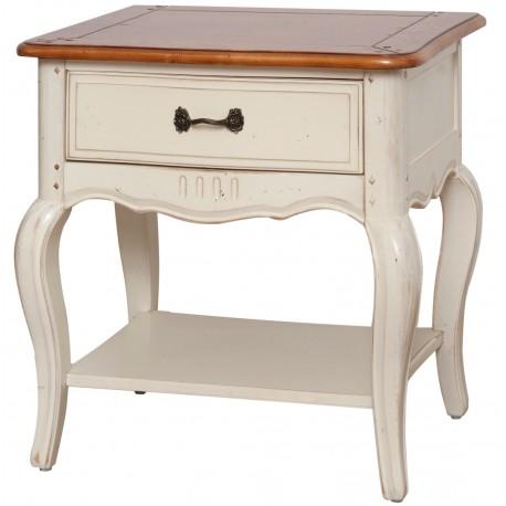 Kremowy stolik nocny z szuflada i półką