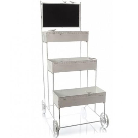 Biały metalowy kwietnik marki Aluro na kółkach
