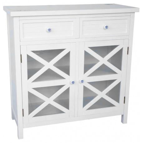Biała komoda Riviera z półką i szufladkami
