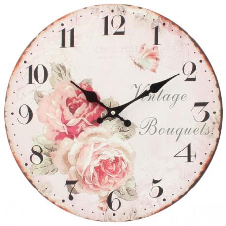 Jasno różowy zegar w stylu prowansalskim z motywem róż