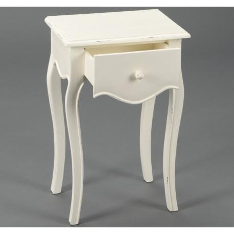 Prowansalski kremowy stolik nocny z jedną szufladką