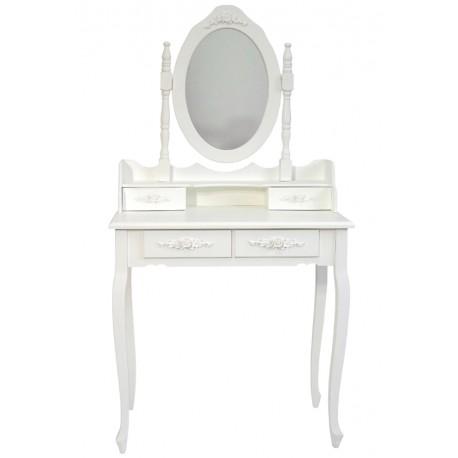Biała toaletka w stylu prowansalskim z owalnym lustrem i szufladkami.