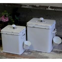 Metalowy Pojemniki Z Łyżeczką Antique White A