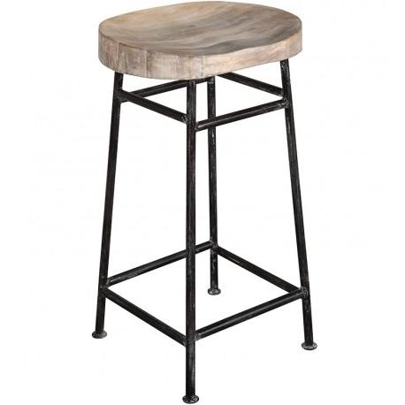stołek z okragłym drewnianym siedziskiem oraz metalowymi nogami