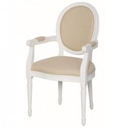 Krzesło Prowansalskie Tapicerowane Białe 2