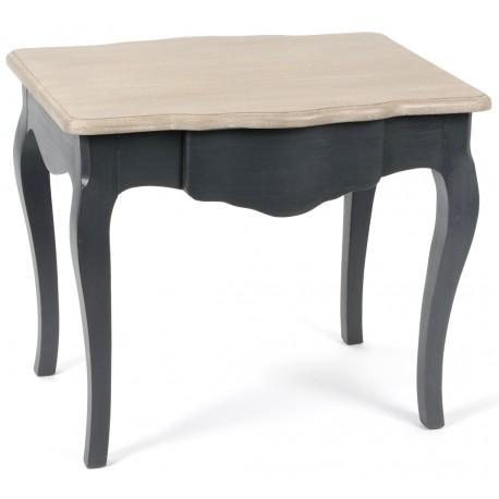 czarny stolik z brązowym blatem