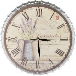 Metalowy Zegar z Lawendą