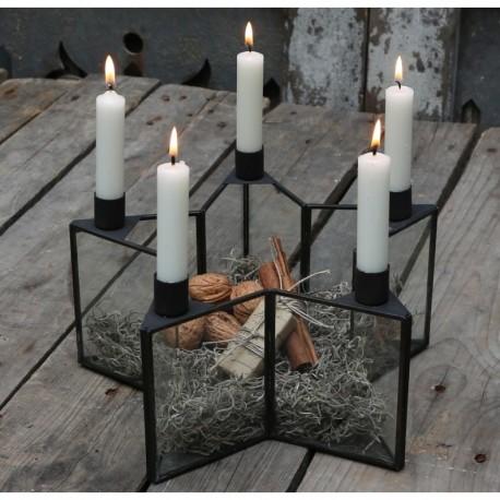Świecznik szklano metalowy o kształcie gwiazdki