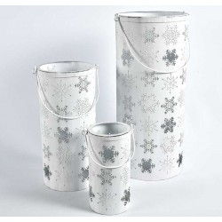 Białe Lampiony Świąteczne 3szt.