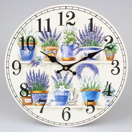 Jasny zegar z lawenda w pięknym kolorze