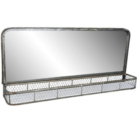 prostoktne lustro w metalowej ramie posiadające półkę w formie kosza