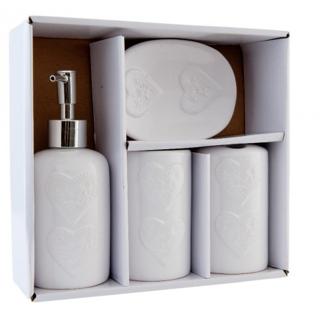 zestaw łazienkowy ceramiczny ozdobiony sercami, w skład ktorego wchodzi dozownik dla kubki i mydelniczkę