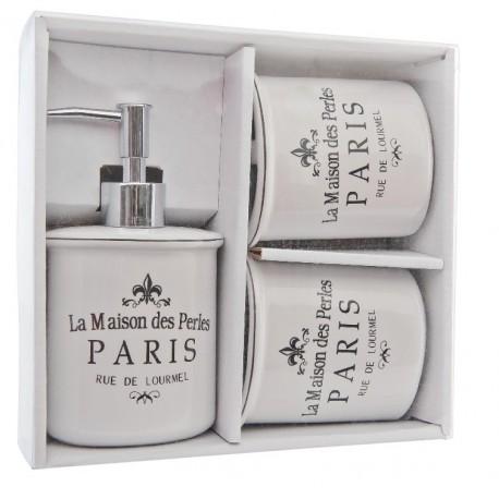Ceramiczny zestaw z dozownikiem i dwoma kubkami ozdobiony francuskimi napisami