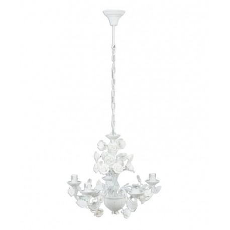 Biały żyrandol ozdobiony kwiatami