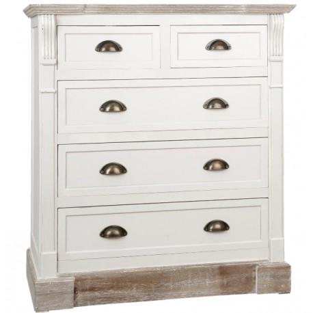 Biała szafka z szufladami w stylu prowansalskim