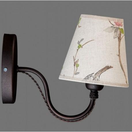 Metalowy kinkiet z jasnym abażurem w kwiaty i ptaki