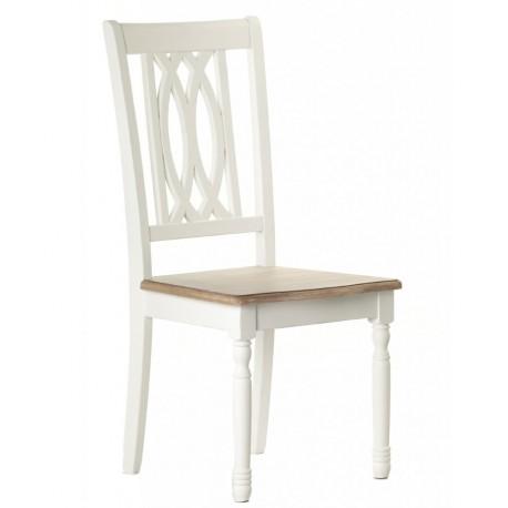 jasnoszare krzesło z ciekawie wykończonym oparciem
